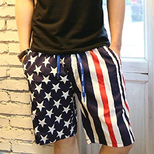 HOOM-Nouveau pantalon de plage d'été occasionnels Shorts hommes Camo coton taille lâche cinq pantalons shorts Blue I