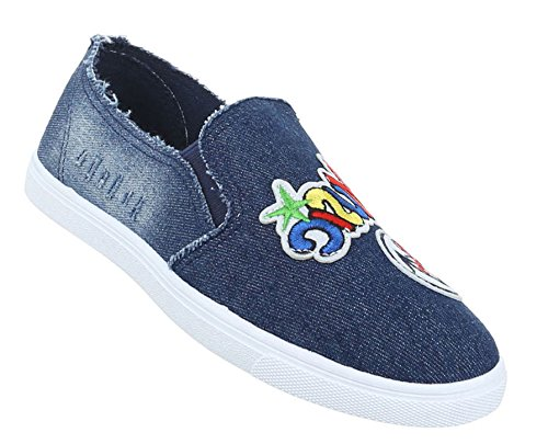 Damen Halbschuhe Schuhe Slipper Loafer Blau