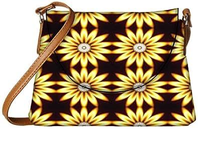 Snoogg Yellow Sunflower Designer Womens Carry Around Sling Bags
