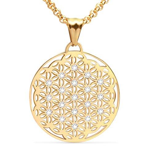 XIUDA Blume des Lebens Anhänger vergoldet Schmuck Geschenk für Frau Mutter Tochter Mädchen