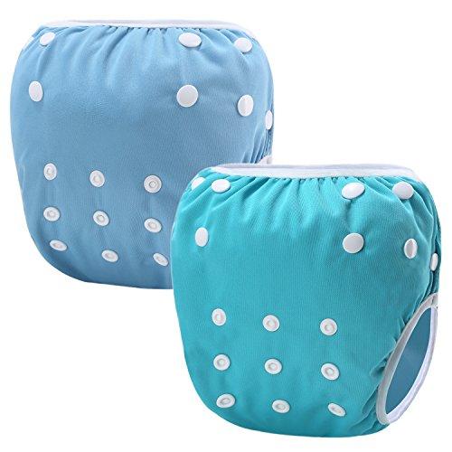 Storeofbaby Nappes de natation de bébé pour la couche de tissu réutilisable réglable de garçons 0-3 ans 2 Pack