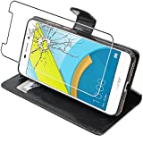 ebestStar - Coque Huawei Honor 6C Pro Etui PU Cuir Housse Portefeuille Porte-Cartes Support Stand, Noir + Film Protection écran Verre Trempé [NB: Lire Description][Appareil: 147.9x73.2x7.7mm, 5.2'']