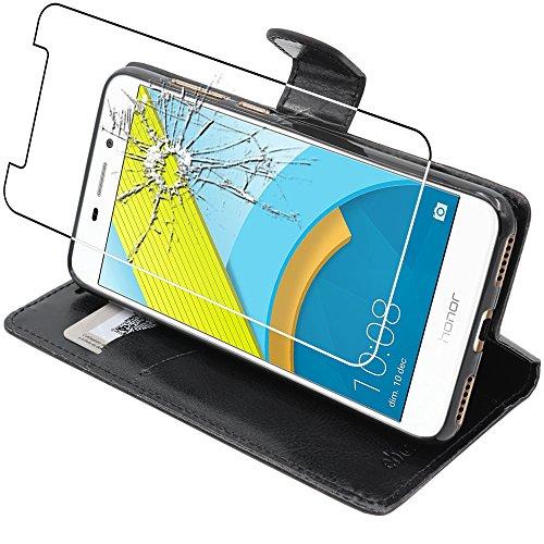 ebestStar - Huawei Honor 6C Pro Hülle Kunstleder Wallet Case Handyhülle [PU Leder], Kartenfächern Standfunktion, Schwarz + Panzerglas Schutzfolie [Phone: 147.9 x 73.2 x 7.7mm, 5.2'']