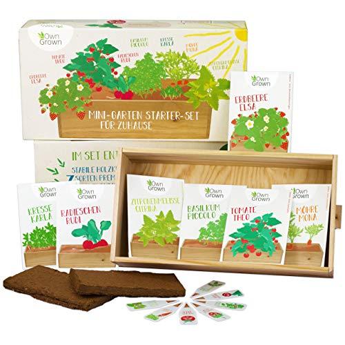 Saatgut Anzuchtset mit 7 Sorten, Mini-Garten Starter Kit von OwnGrown, Gemüse und Kräuter Samen Anzucht Set für die Fensterbank als Geschenk für Kinder und Familie -