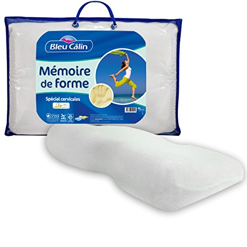 Bleu Câlin  Oreillers Mémoire de Forme Blancs