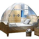 YOUJIA Dobles Puertas Portátil y plegable Mosquiteras Mosquitera de viaje para cama Azul 2*2.2*1.5m