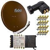 8 Teilnehmer Satelliten Anlage Antenne Fuba 85x85 cm Alu Braun DAA 850 B + PremiumX Multischalter 5/8 Multiswitch Matrix 5-8 mit Netzteil für 8 Teilnehmer + PremiumX Quattro LNB + 16x F-Stecker Switch Sat Digital FULL HD 3D UltraHD