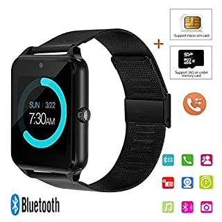 Befied SmartLife - Smart Watch Bluetooth Remote Camera Sedentary Remind | Android IOS support SD Card Memory Card | Alarm |Steps Counting | Sleep Monitor (Black)
