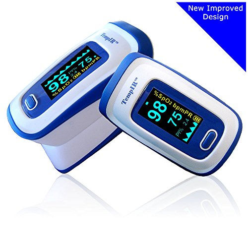 Premium Pulse Oximeter - Finger - TempIR Handheld Portable - Digital Blood Oxygen and Pulse Sensor Meter with Alarm -Home and Professional - Fast Readings From the Finger-fingertip - For Adults, Children, Perfect for Sports Use - Quality Design