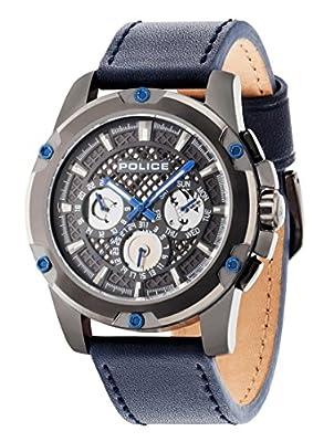 Policía Grid–Chaqueta Reloj de cuarzo con Esfera Analógica Gris y Correa de piel color azul 14689jsu/13 de Police