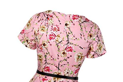 Eudolah Damen Vintage 50er Cap Sleeves Dot Einfarbig Rockabilly Swing Kleider Pink Blumen