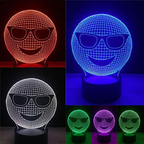 Lustiges 3D kühles Lachen-Sonnenbrille-Ausdruck-Nachtlicht-Illusions-Kunst-Stimmungs-LED-Tabellen-Schreibtisch-Lampen-buntes Steigungs-Kind scherzt Geschenke