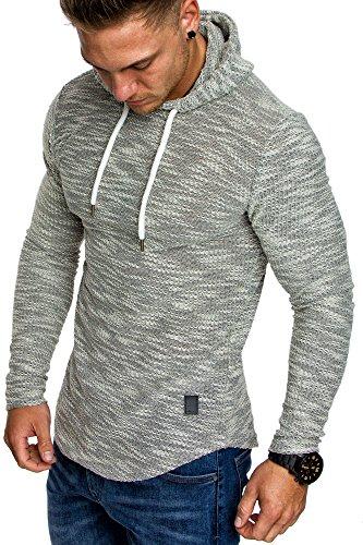 Amaci&Sons Herren Kapuzenpullover Hoodie Sweater Pullover Sweatshirt 4012 Grau L