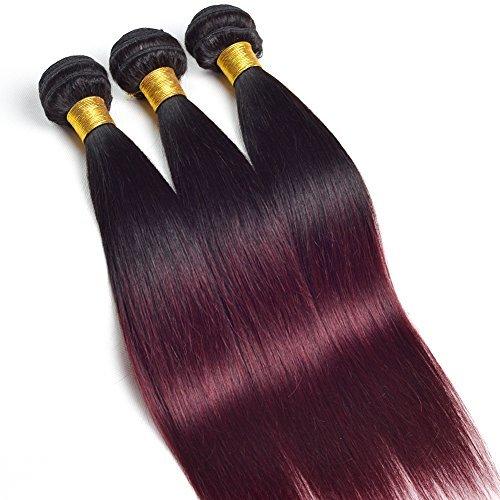 6 Grade A Ombre Extensions capillaires Cheveux brésiliens 3 lots droite 2 tons naturels non traités tissage cheveux humains 14 16 45,7 cm # 1b-99j couleur Lot de 3