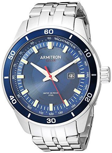 Armitron Men's Quartz Stainless Steel Dress Watch, Color:Silver-Toned (Model: 20/5289NVSV)