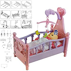 FunkyBuys® Dolls Pink Cot Bed Toy Girls Toy With Blanket & Pillow Best Xmas Gift