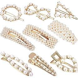 9 Piezas de Pinzas de Pelo de Perlas Artificiales Hebillas de Pelo Clips de Pelo Nupcial Accesorios de Pelo Hechos a Mano para Niñas Mujeres