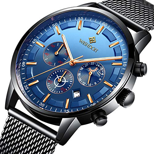 WISHDOIT Uhren Herren Mode Chronographen Analoger Quarz Edelstahl Wasserdich Schwarze Quartz Milanaise Mesh Armband Geschäft Casual Datum Uhr Blau