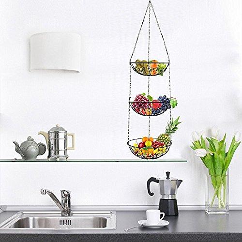 Obstkorb Surenhap Hängekorb Küche, Machen Sie Ihrer Küche mehr Platz, Dreischichtige obst Hängekorb Küche,ca.120cm Obstkorb zum Hängen(Drei Schichten)