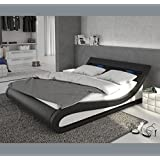 Muebles Bonitos – Cama de diseño modelo Carol en color blanco y negro con LED 160x200