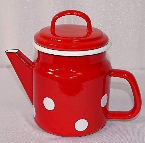 Esmalte Tetera, Olla de tapa, Taza de té Lunares Rojo Blanco 1,0 Litros