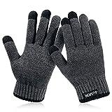 4UMOR Winterhandschuhe Touchscreen Handschuhe Strick Fingerhandschuhe Sport Warm und Winddicht Winterhandschuhe für Skifahren Radfahren und SMS,bestehen aus 15% Wolle und 85% Polyester Geeinget für Damen und Herren