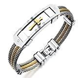 #6: ABHISTA Cool Style Bracelet For Men And Boys with Gold and Silver Plated Cross Gift