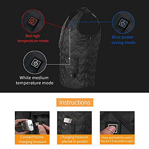 51RqLnP9XUL. SS500  - OUTANY USB Rechargeable Electric Body Warm Vest, Freely Adjustable 4 Sizes, Heated Clothing, Adjustable Temperature, Washable