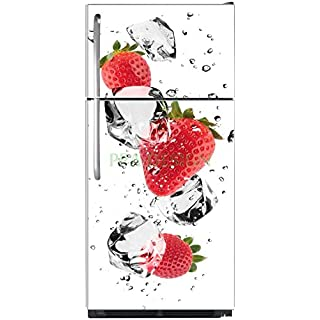 Sticker autocollant frigo Fraises et Glaçons 70x170cm SAEFR1037 (Fond Blanc)