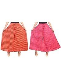 Fashion Store Women's Cotton Stylish Printed Full Flair Multi-Colored Plazo (Free Size, Set Of 2) - B0774PQX3X