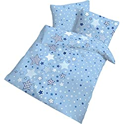 STERNE Fein Biber Babybettwäsche Kinderbettwäsche Jungen ☆ STARS Sterne & Sternchen blau, himmelblau - 2 teilig Kissenbezug 40x60 + Bettbezug 100x135 cm - 100 % Baumwolle - hergestellt in Deutschland