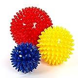 meglio Igelball Massageball 3er Set – Noppenball perfekt für den Stress Reflexologie und Triggerpunkt-Massagen – mit kostenloser Übungsanleitung (Rot, gelb, blau)