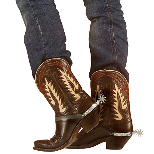 Sporen silber Westernsporen ein Paar Cowboy Stiefelsporen Western Cowboysporen Wilder Westen Reitsporen Cowgirl Accessoires