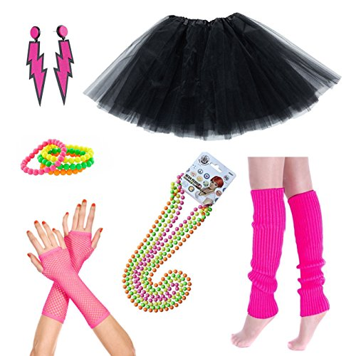 iLoveCos 80s Fête Accessoires vestimentaires Néon Adult Tutu Jambières Gants noirs Fishnet Perle fluorescente Colliers Bracelets en Néon Boucles d'oreilles éclair 1980 Fancy Dress for Girls Women Night Out Party (CC3)