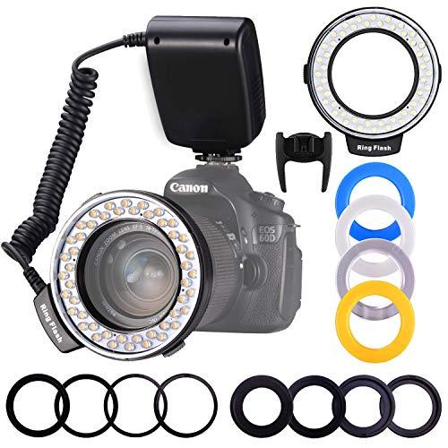 Ringblitz, Shotory LED Makrofotografie Flashing Lights mit LCD-Display Power Control, Mit adapterringen und Blitzdiffusoren für Nikon Canon...