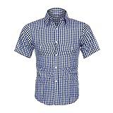 Ba Zha HEI Herren Klassisches Kariertes Hemd Sommer Kurzarmhemd Männer Druck Tees Shirt Kurzarm Basic Rundhals-Ausschnitt Regular T Shirt mit Frontprint und Rundhalsausschnitt Bluse (XL, Blau)