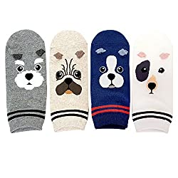 Womens Cute Animal Painting Socks, Funny and Cool Cotton Art Dog Socks by JYsense