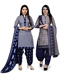 Rajnandini Women's Cotton Unstitched Salwar Suit (Pack of 2) (JOPL710C-1011_Blue & Grey_Free Size)