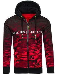 BOLF Sweatshirt avec capuche – Fermeture éclair – Réglable – Camouflage – Homme 1A1
