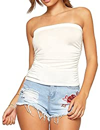 Ladies Womens Stretchy Ruched Bandeau Boobtube Crop Vest Top Plus Size 16-22