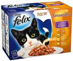 Felix - Sensations Repas Plat pour Chat Assortiment 100g x 12 - Paquet de 4