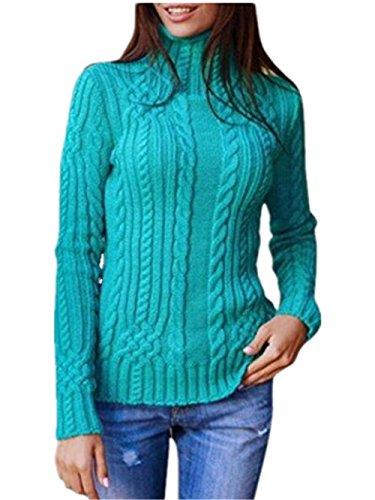 BESTHOO Donne Maglione Maglieria Casuale Alta Colletto Manica Lunga Autunno Invernale Classico Sweater Pullover Sweatshirt Green