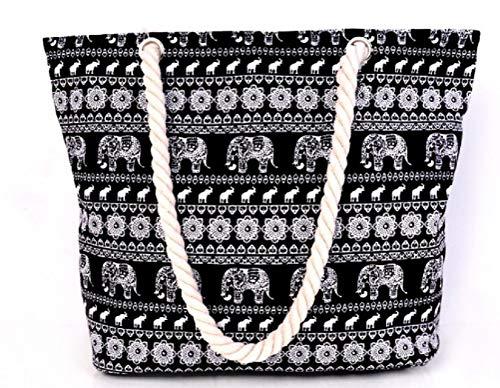 Samanthajane Clothing - Bolsa de playa Mujer Negro elefante Large