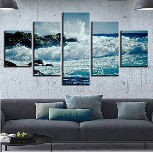 TYFEI Bilder Hd Druck Dekor Zimmer Wand 5 Stücke Heftigen Meerwasser Schlag Gegen Das Riff Seascape Leinwand Malerei Kunst Modulare Gerahmte -