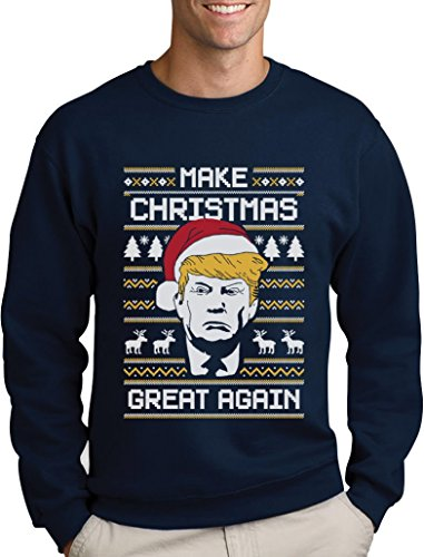 *Make Christmas Great Again TRUMP Herren Ugly Christmas Sweater Sweatshirt Medium Marineblau*