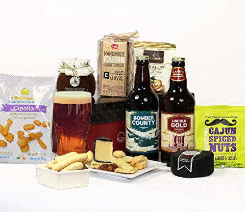 Cheese, Craft Beer & Nibbles Hamper - 8 Large Items in Luxury Gift Box - FREE UK delivery