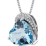 Revoni Tilted Heart Shape 4.00 carats Sterling Silver Rhodium Finish Swiss Blue Topaz Pendant