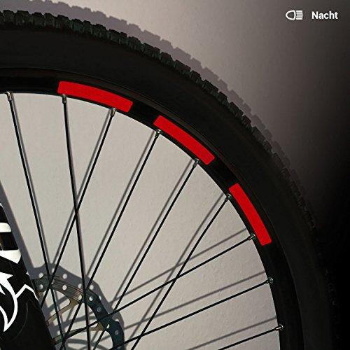 Motoking Fahrrad-Reflektorenaufkleber mit Waben-Reflex-Optik - Rot - 22 Aufkleber im Set - Breite: 10 mm - reflektierende Felgenaufkleber für Mountainbike-, Fahrradfelgen & mehr