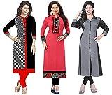 #5: Ramdev Women's Cotton Semi-Stitched Combo Of 3 Kurti (Multicolor_Free Size)