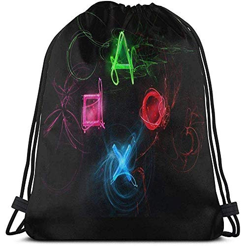 jingqi Sporttaschen,Tunnelzug Gymsack,Rucksack Mit Kordelzug,Leichter Turnbeutel,Abstrakt Playstation Buttons String Pull-Tasche,Sport Sackpack,43X36Cm,Yoga Sack,Bulk-Rucksack